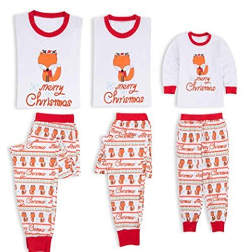 Wingbind Frohe Weihnachten Familie Pyjama Set Cute Fox Cartoon Bedruckt T-Shirt + Fox Printed ()