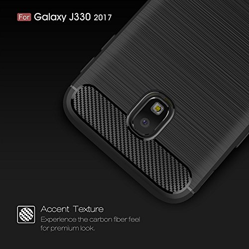 EKINHUI Case Cover Dünne und Leightweight gebürstete Carbon Fiber Rugged Armor Back Cover Stoßstange Fall Shockproof Drop Resistance Shell Cover für Samsung Galaxy J330 2017 ( Color : Red ) Blue