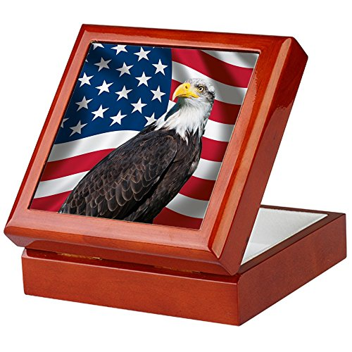CafePress - USA Flagge mit Bald Eagle - Keepsake Box, fertig Hartholz Jewelry Box, Samt Gefüttert Memento Box mahagoni -