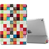 Apple iPad Air 2 Funda Case, Infiland Ultra Delgada Tri-Fold Smart Case Cover PU Cuero Smart Cascara con Soporte para iPad Air 2/iPad 6 2014 released Tablet(con Auto Reposo / Activación Función), Cuadrados Colorido