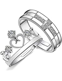 Mahi Rhodium Plated Couple Ring Set with Cubic Zirconia and Crystal Stones FRCO1103032R