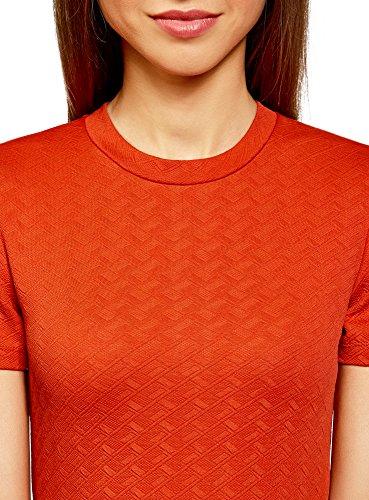 oodji Ultra Damen Enges Kleid mit Reißverschluss Orange (5500N)