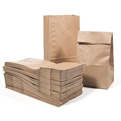 meridy Sacs Alimentaires en Papier Kraft,Emballage Sandwich à Hamburger,Sacs à Lunch Durable,Papier Brun,Sacs à Collation,Sacs à Pain,30x15.5x10cm 20PCS (Résistant à l'huile)