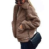 GWELL Damen Plüschjacke Nachgemachte Kaschmir Warme Teddy-Fleece Jacke Mantel mit Reißverschluss für Herbst Winter Khaki XL