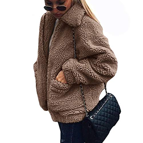 GWELL Damen Plüschjacke Nachgemachte Kaschmir Warme Teddy-Fleece Jacke Mantel mit Reißverschluss für Herbst Winter Khaki S