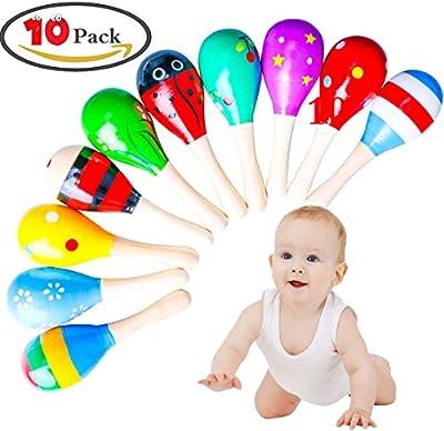 zesgood 10pcs madera Maraca Sonajeros Shaker para bebé (colores al azar)