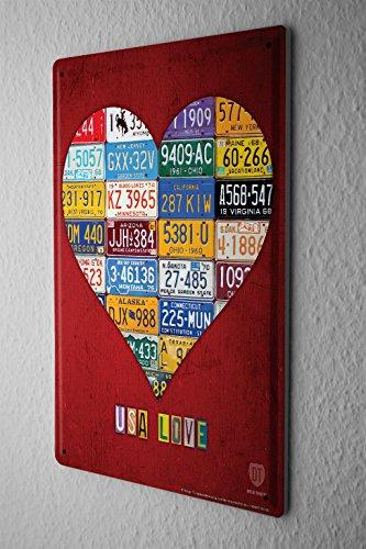 Blechschild Weltenbummler Herz Liebe USA Nummernschilder Metallschild 20X30 cm