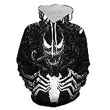 Felpa con Cappuccio Marvel Venom Cardigan con Cerniera Stampata in 3D Maglione Sportivo con Cappuccio Cospaly Uomo E Donna Uomo E Donna Uomo E Donna No Zipper-+M