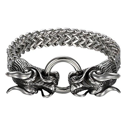 """cupimatch de hombre, Biker Gótico cabeza de dragón de acero inoxidable sólido enlace pulsera de cadena, 8.7"""""""
