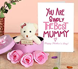 TIED RIBBONS Mother's Day Gift Sets for Mother in Law mom Heart Shape Box Teddy Bear with 3 Rose Buds and Mothers Day Special Greeting Card