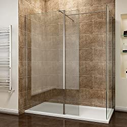 700mm Wetroom Screen with 300mm Flipper Panel and End Panel + 1200x700mm Walk in Shower Enclosure Tray and Waste