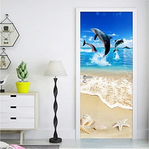 3D Fototapete Sandy Beach Shell Starfish Dolphin Poster Fototapete DIY selbstklebende Tür Aufkleber Wohnzimmer Kinderzimmer 77x200cm