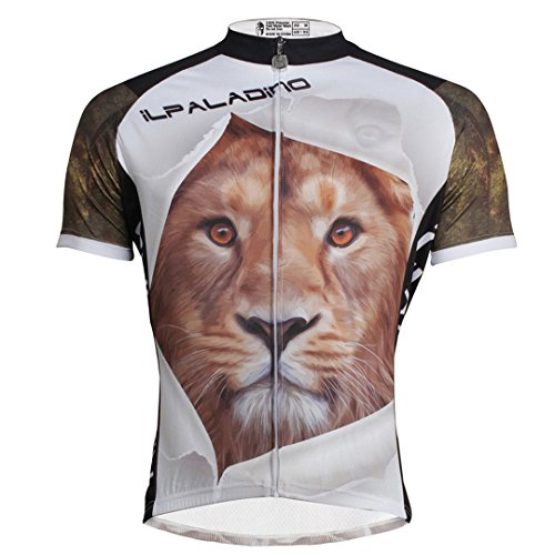 Rosfajiama Tiger Pattern Men's Short Sleeve Cycling Jersey Full Zip Moisture Wicking Breathable Running Top Quick Dry Outdoors Sports Multicolor 3X-Large -