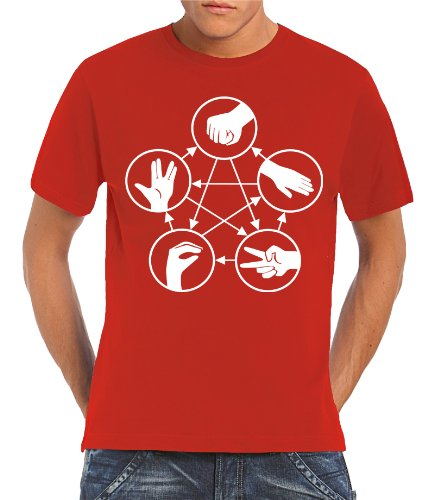 Touchlines Herren T-Shirt Big Bang Theory - Stein Schere Papier Echse Spock, red, XXL, B18 Preisvergleich
