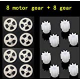 Generic Red : 8pcs Motor Gear + 8pcs Big Gear For SYMA X5C X5 X5C-1 X5S X5SC X5SW RC Quadcopter Helicopter Drone Accessories Spare Parts