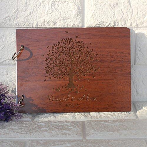 Holz-Fotoalben, rustikal, handgefertigt, für Hochzeiten, Scrapbook-Alben, Hochzeits-Gästebuch mit eingraviertem Baum-Motiv, Vintage-Stil, personalisierbar mit Namen und Gravur