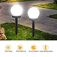 2Pcs Outdoor Waterproof L-ED Solar Ball Light Garden Lawn Lamp Path Ground Light