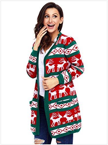 Fast Fashion Frauen Weihnachtspullover Lange Ärmel Star Beiläufiger offener vorderer Longsleeve-Strickjacke mit Tasche Grün