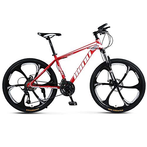 """FJW Bicicleta de montaña Unisex, 26\""""Pulgadas Ruedas de 6 radios Marco de Acero de Alto Carbono, 21/24/27/30 Velocidad Ajustable Bicicleta MTB con Frenos de Disco y Horquilla de suspensión,Red,21Speed"""