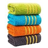 LOF-fei Juego de 4 Toallas de Lavabo/Toallas de Mano 70x34cm algodón hogar Adulto de Secado rápido Uso multipropósito para el baño,la Mano,la Cara,el Gimnasio y SPA,Amarillo Naranja Gris Azul