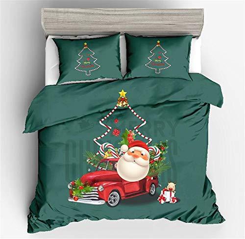 Luckme copripiumini natalizi, federa da viaggio set da 3 pezzi natalizio natale/set da 2 pezzi stampa attiva copri trapunta da letto per letto da camera da letto,d,single