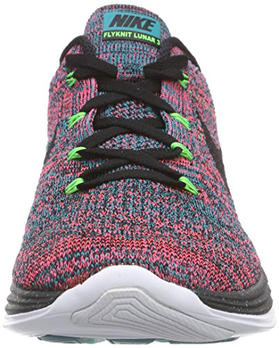 Nike Flyknit Lunar3, Chaussures de Running Entrainement Homme Multicolore - Mehrfarbig (Radiant Emerald/Black/Hyper Punch)