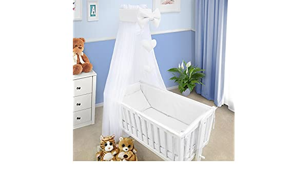 Baby Canopy Crib Drape Mosquito Net With Holder To Fit Crib White