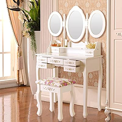 UEnjoy White Dressing Table with Stool and Mirror Makeup Desk Bedroom Furniture - cheap UK light shop.