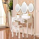 UEnjoy White Dressing Table Set Mirror Stool Makeup Table 3 Mirror 7 Drawers FREE Stool