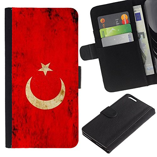 "Graphic4You Vintage Uralt Flagge Von Iran Iraner Design Brieftasche Leder Hülle Case Schutzhülle für Apple iPhone 6 Plus / 6S Plus (5.5"") Turkey Türkisch"