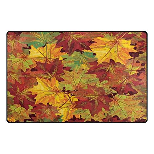 Use7 Autumn - Alfombra Antideslizante de Hojas de Arce para el Suelo, Felpudo para el salón...