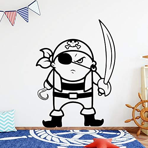 caowenhao Kids Boy Room Art Applique Klassische Piraten Vinyl Wandaufkleber Tapete Tapete Vinyl Aufkleber Schlafzimmer Wandbild Schwarz XL 57cm X 77cm -