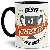 Tassendruck Kaffee-Tasse Chefin Innen & Henkel Schwarz/Lustig / Fun/Mug / Cup/Geschenk Qualität - 25 Jahre Erfahrung
