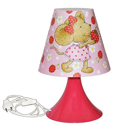 Unbekannt Tischlampe Lillebi Maus mit Erdbeere 29 cm hoch - Tischleuchte für Kinder Kinderzimmer - Mädchen Blumen rosa pink - Nachttischlampe Lampe Stehlampe - Steinbec..