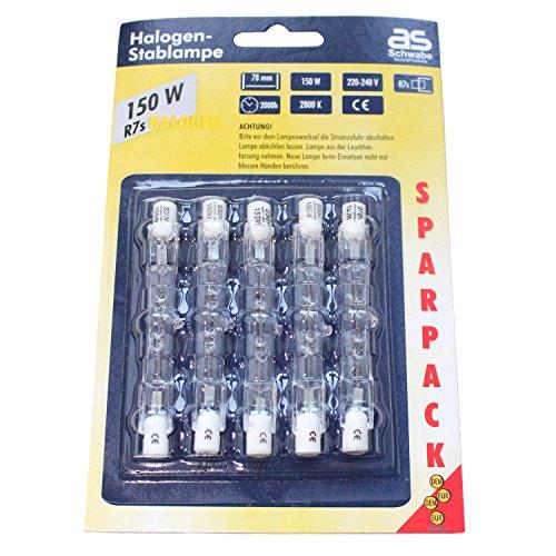5 x 150W Halogenstab Leuchtmittel Halogenstrahler 78mm R7s Halogen as Schwabe