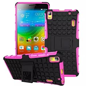Heartly Flip Kick Stand Spider Hard Dual Rugged Armor Hybrid Bumper Back Case Cover For Lenovo A7000 / Lenovo K3 Note Dual Sim - Cute Pink
