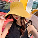TJLJFTILTIR Signore Pieghevole Anti-UV Solare Cappello Grande Lungo Piccola Protezione del Bacino della Protezione della Spiaggia Primavera Estate della Signora Parasole Facile da Piegare,A,56~58CM