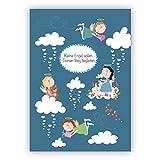 Sehr schöne Taufkarte, Grußkarte zur Geburt oder Erstkommunion mit Schutzengenl: Kleine Engel sollen Deinen Weg begleiten