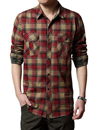 MatchLife Nouvelle Chemise En Flanelle Imprime A Carreaux Col Classique Manche Longue Bouton Casual Homme Avec Poche Design JEEP Rich Style Cow Boy Western Top Shirt S-XL Style4-Rouge
