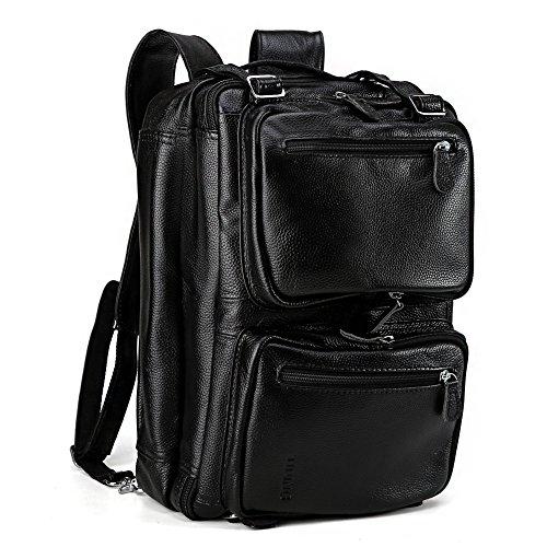 Tiding Pour des hommes Cuir véritable Voyage molletons Weekender extérieure Consigne à bagage Loisirs polyvalent 15 'ordinateur portable de grande capacité Sac à dos Sac à bandoulière Noir
