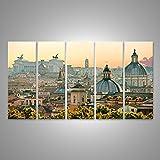 Bild Bilder auf Leinwand XXL Bild Poster Leinwandbild Wandbilder Kunstdruck 5-teilig BJH Stadt Aufnahme von Rom