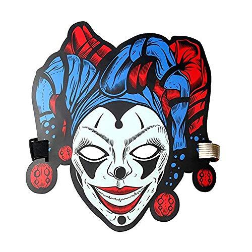 Sound Reaktive LED Halloween Masken,Saingace Sound Reactive LED Maske Tanz Rave Licht Einstellbare Maske Für Festival,Cosplay,Halloween,Kostüm,Batterie Angetrieben (Q)