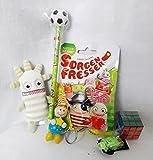 110092 Geschenk Set Ernst grün für Jungs mit Sorgenfresser Blindbag Schutzengel Zauberwürfel und Bleistigt mit Fussball als Geschenk verpackt
