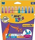 BIC Kids Fasermaler visaquarelle / Pinsel-Fasermaler für Kinder mit flexibler Pinselspitze / 1 x 10 Stifte in leuchtenden Farben