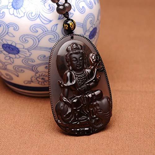 BGRHF Natürliches EIS Klarer Obsidian Geschnitzter Heiliger Buddha Kwan-Yin Amulett Segen Anhänger Perlen Halskette Schmuck -