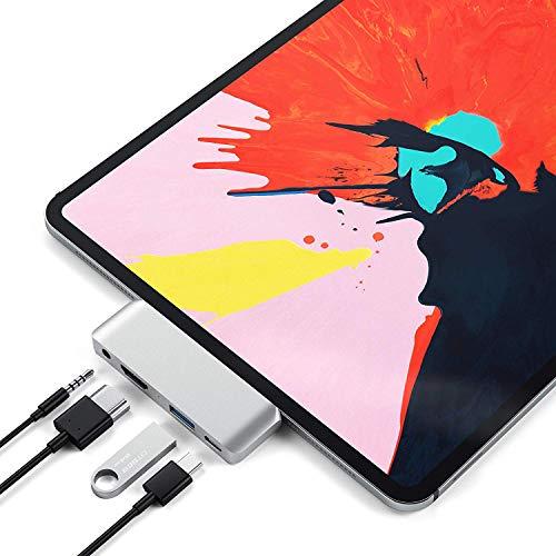 usmley USB C Hub für iPad Pro 2018 mit 4K HDMI,1 USB 3.0 Ports,1 USB-C PD Ports,1 Audio Jack Telefon zubehör 4 in 1 Dockingstation (Silber) Usb-telefon-jack