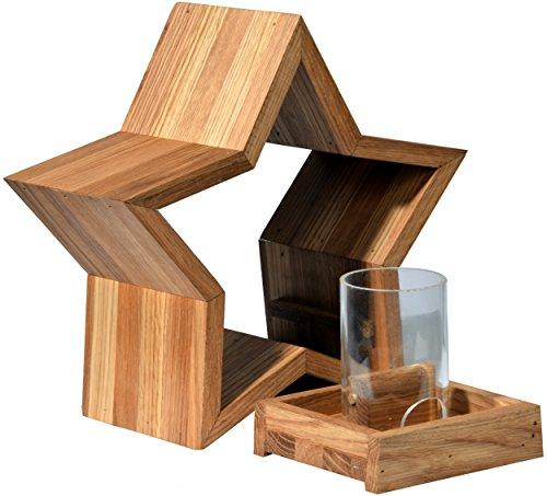 Luxus-Vogelhaus 85075e Stern Design, Ständer aus geöltem Eichenholz, Holz mit Silo, 30 x 14 x 152 cm - 6