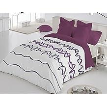 Reig Martí Oleo - Juego de funda nórdica estampada, 3 piezas, para cama de 150 cm, color morado