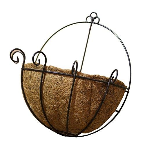 OUNONA Pot de fleurs à suspendre en métal Acier fils de noix de coco Porte Fleurs Intérieur ou extérieur d'arrosage à suspendre paniers 35,6 cm 35 cm