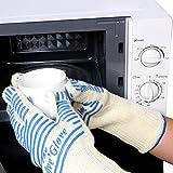 OVOS Premium-Ofen-Handschuhe Extra lange Stulpe EN407 & CE zertifiziert Festigkeit bis 932  F Koch-Handschuhe Anti-Rutsch Silikon-Streifen für leichteren Halt besser als Topflappen, Griffel & Wärmepolster Leichte und flexible Ofen-Handschuhe Hitzebeständige Handschuhe 1 Paar